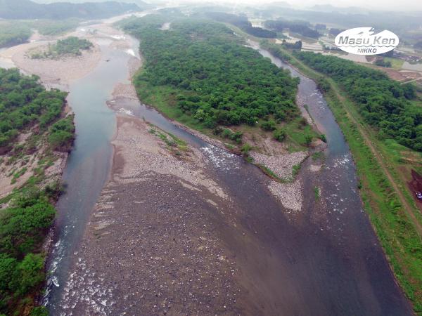 大谷川の鬼怒川合流付近下流側