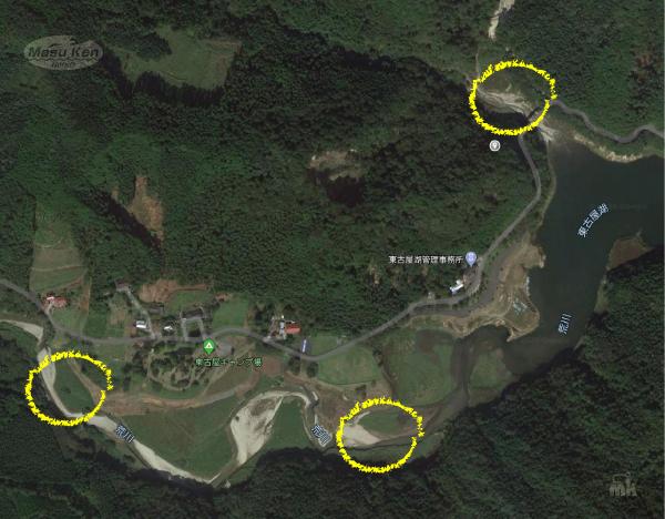 東古屋湖 2020年春のポイントマップ